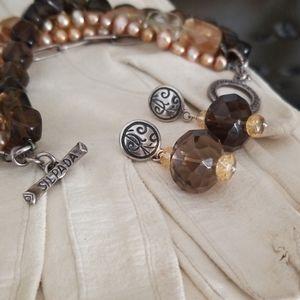 Silpada ~ Smoky Quartz and Citrine Earrings